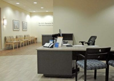Reception station in a medical office